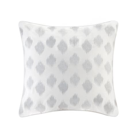 The Curated Nomad Miley Silver Dot Cotton Embroidered Euro Sham - 26x26""