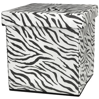 Zebra Stripe Storage Ottoman (China)