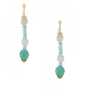 One-of-a-kind Michael Valitutti 14k Yellow Gold Pearl, Apatite and Aquamarine Dangling Stud Earrings