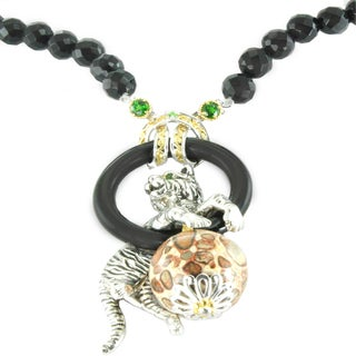 One-of-a-kind Michael Valitutti Black Onyx, Jasper and Chrome Diopside Tiger Necklace