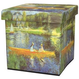 Handmade 'The Seine' by Renoir Storage Ottoman (China)
