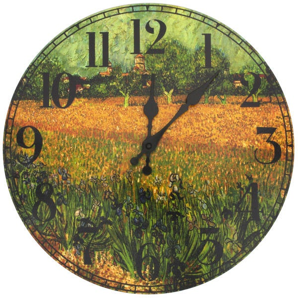 Handmade Van Gogh Field of Irises Wall Clock