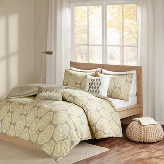 Madison Park Pure Luna Yellow Cotton Printed Duvet Cover Set