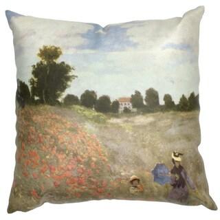 Handmade Monet 'Poppy Fields' Pillow (China)