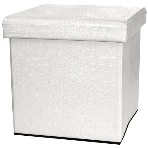 Handmade White Faux Leather Storage Ottoman (China)