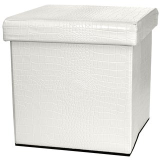 White Faux Leather Storage Ottoman (China)