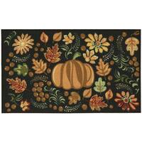 "Nourison Essential Elements Harvest Tapestry Black Accent Rug - 1'6"" x 2'3"""