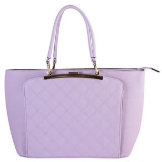Diophy Saffiano Faux Leather Front Magnet Closure Pocket Quilted Pattern Tote Bag