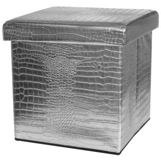Silver Faux Leather Storage Ottoman (China)