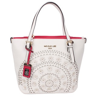 Nicole Lee Farley White Flowery Shopper Tote Bag