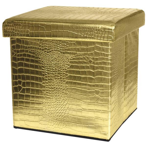 Handmade Gold Faux Leather Storage Ottoman (China)