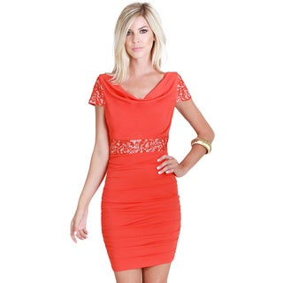 Nikibiki Women's Orange Red Polyester and Spandex Lace Paneled Ruched Dress