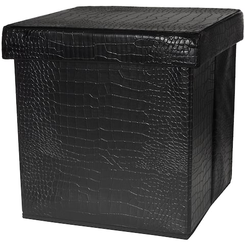 Handmade Black Faux Leather Storage Ottoman