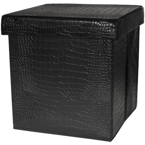 Handmade Black Faux Leather Storage Ottoman (China)