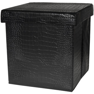 Black Faux Leather Storage Ottoman (China)