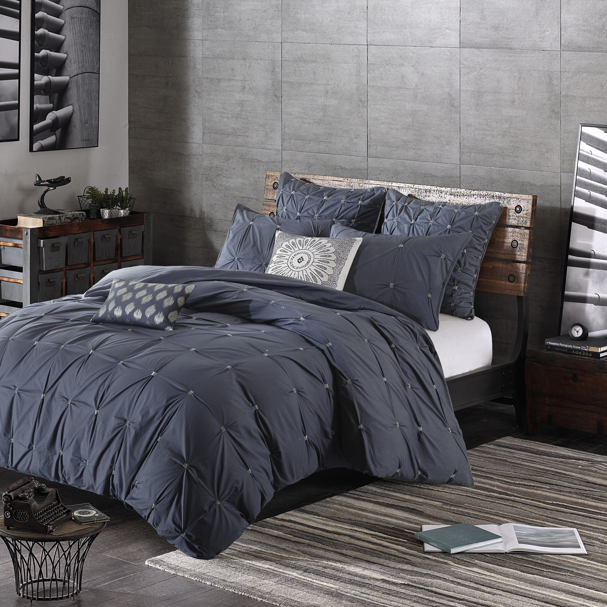 The Curated Nomad Jessie Navy Cotton 3 Piece Comforter Set On Sale Overstock 12635455 Full Queen