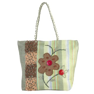 Diophy Floral Beads Decor Woven Large Beach Tote Bag