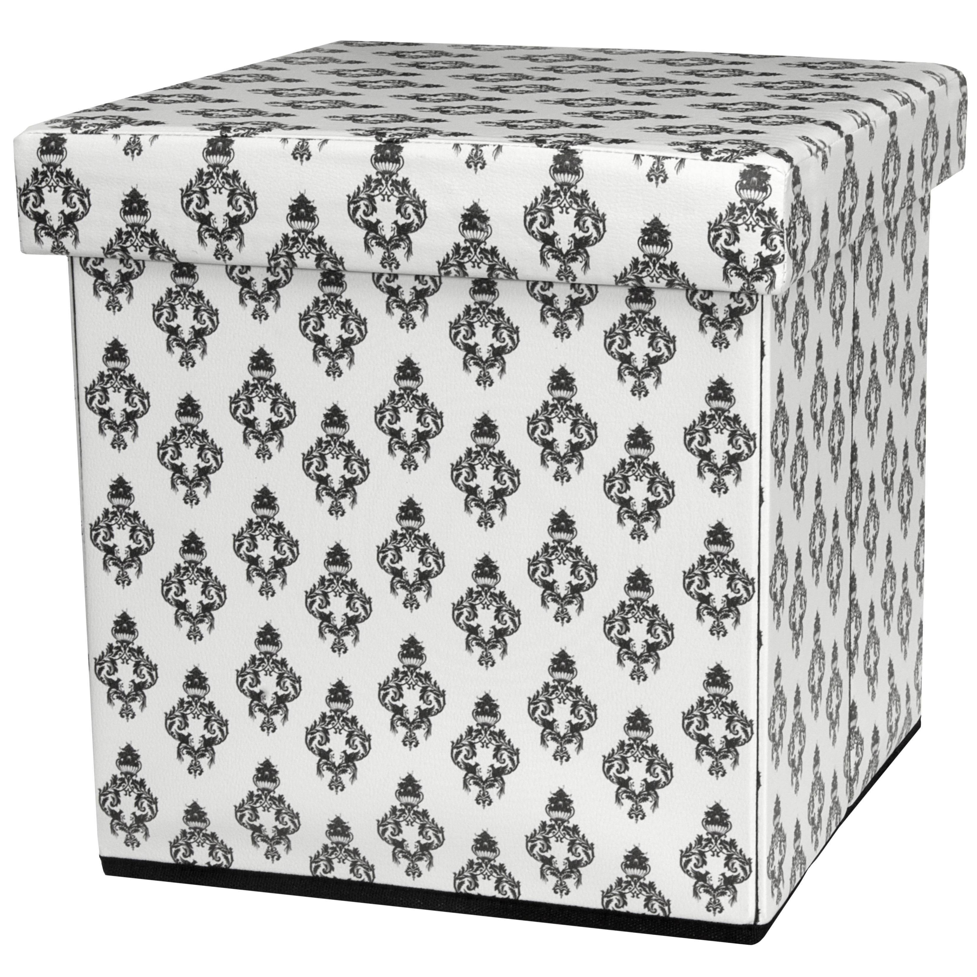 ORIENTAL Furniture White Faux Leather Storage Ottoman