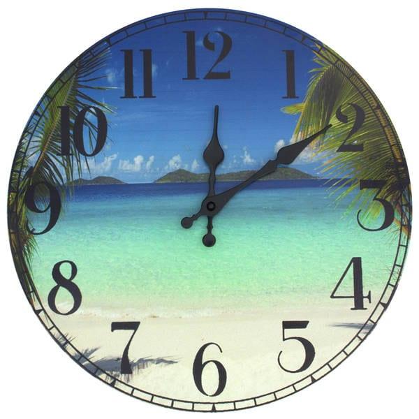Handmade Caribbean Beach Wall Clock