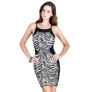 Nikibiki Women's Black/White Nylon Zebra Colorblock Bodycon Dress