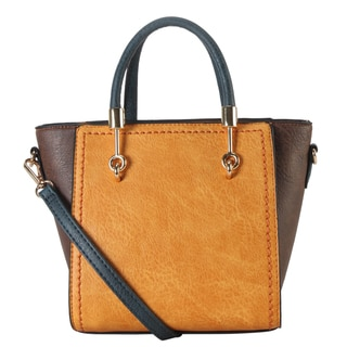 Diophy Faux Leather Two-tone Mini Top Handle Tote Bag with Removable Strap