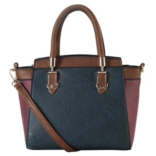 Diophy Two-tone Faux Leather Mini Top Handle Tote Bag with Removable Strap