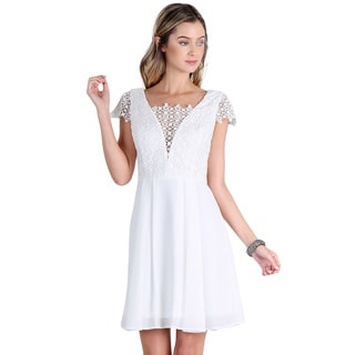NikiBiki Women's Off-white Lace-inset Chiffon Dress (As Is Item)