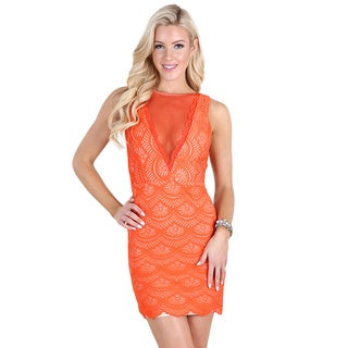 Nikibiki Women's Neon Orange Plunging V-neck Lace Dress
