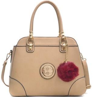 Dasein Emblem Metal Hinge Handle Handbag w/Bonus Faux Fur Ball