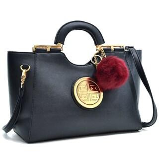 Dasein Gold Tone Loop Handle Shoulder Handbag w/Bonus Faux Fur Ball
