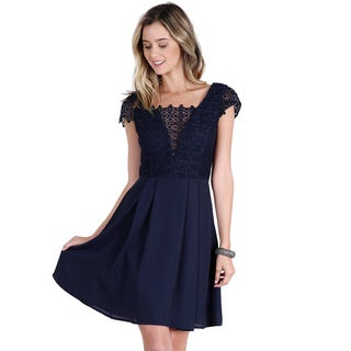 Nikibiki Women's Navy Polyester Lace-Inset Chiffon Dress