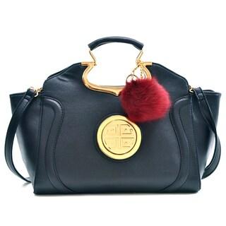 Dasein Drop Handle Raised Stitch Winged Handbag w/Bonus Faux Fur Ball