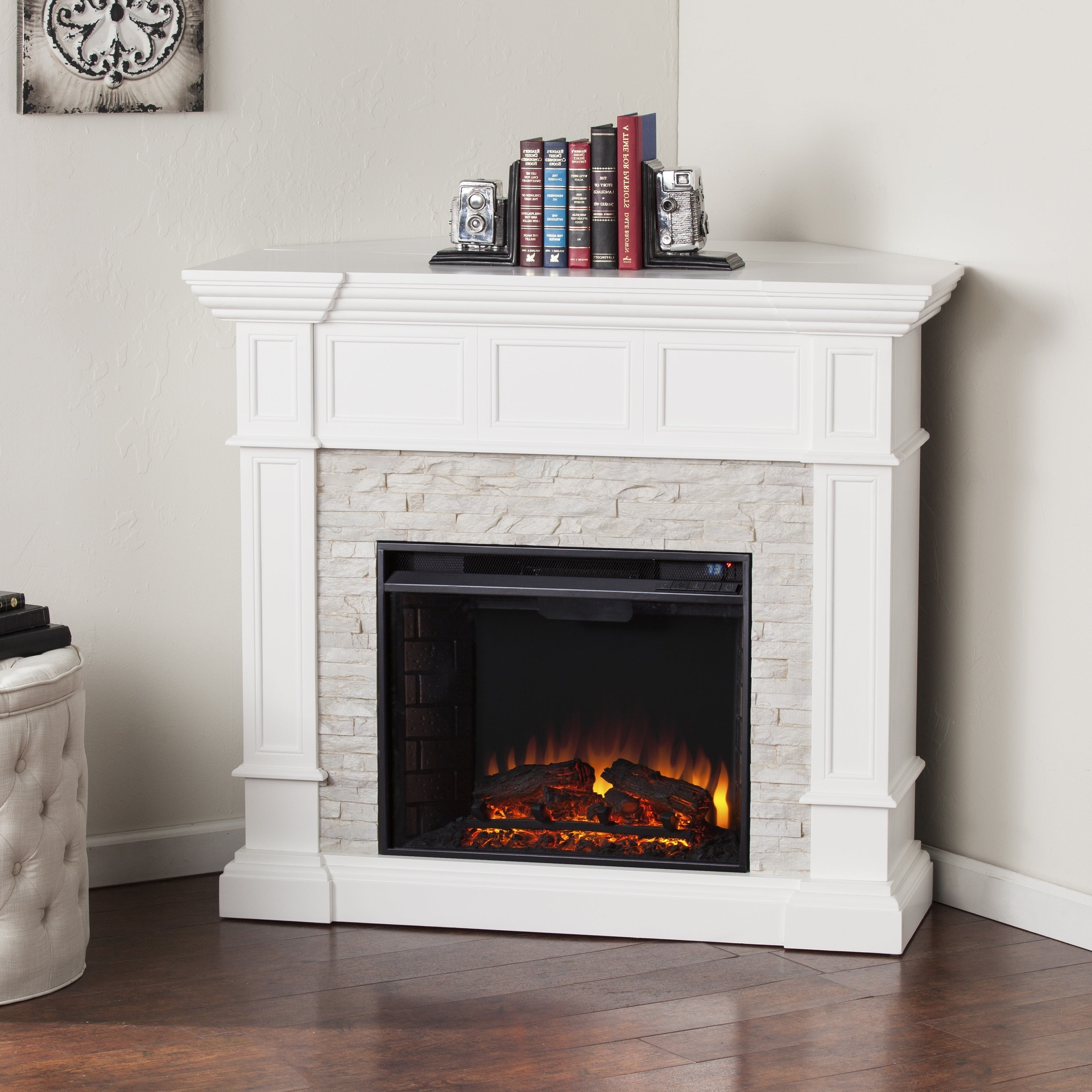 Oliver U0026 James Lochner White Faux Stone Corner Convertible Electric  Fireplace