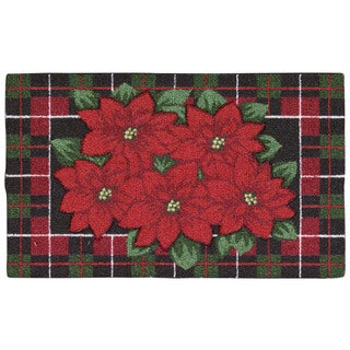 Nourison Enhance Poinsettia Black Accent Rug (1'5 x 2'4)