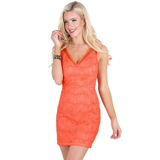 Nikibiki Women's Neon Coral Polyester V-Neck Mesh Paneled Lace Dress