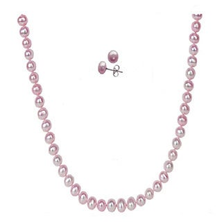 Pearl Lustre Silver Cultured Freshwater Pearl and Sterling Silver Necklace and Earring Set
