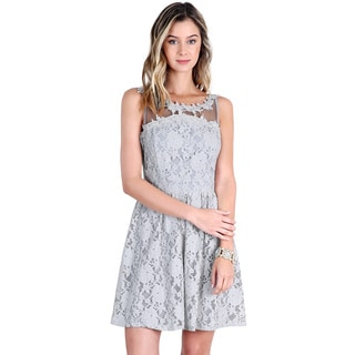 Nikibiki Women's Light Gray Cotton/Nylon/Rayon Lace-trimmed Floral Lace Dress