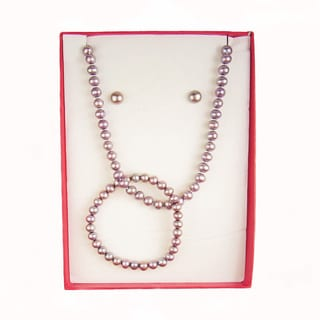 Pearl Lustre 7- to 8-millimeter Cultured Freshwater Pearl 3-piece Necklace, Bracelet, and Earring Set with Gift Box