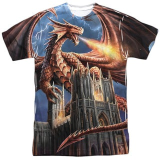 Anne Stokes/Dragon's Fury (Front/Back Print) Short Sleeve Adult Poly Crew in White
