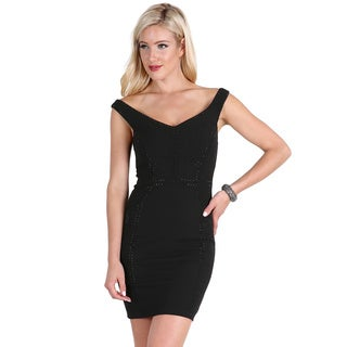 Nikibiki Women's Black Polyester/Spandex Embellished Off-shoulder Dress
