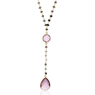 79 TGW Pink Tourmaline Pear Shape Y Bar Strand Necklace In Yellow Gold Over Sterling Silver, 36