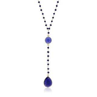 79 TGW Blue Sapphire Pear Shape Y Bar Strand Necklace In Yellow Gold Over Sterling Silver, 36 In