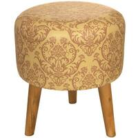 Handmade Yellow Damask Stool (China)