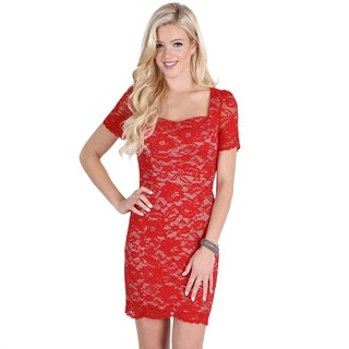 Nikibiki Women's Red Sweetheart Neck Lace Dress
