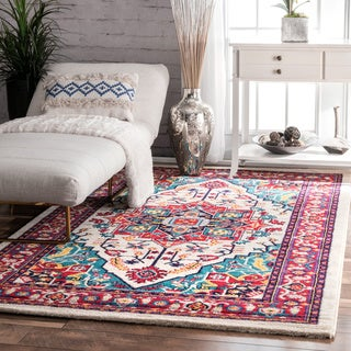 nuLOOM Vibrant Floral Persian Multi Rug (4'1 x 6')