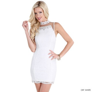 NikiBiki Women's Off-White Jeweled Sheer Crochet Dress