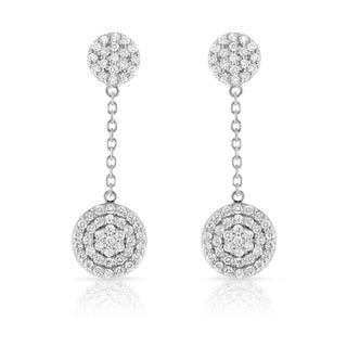 Noray Designs 14k White Gold 1ct TDW Diamond Circle Dangle Earrings (G-H, SI1-SI2)