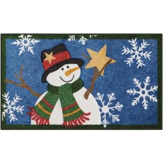 Nourison Accent Décor Snowman Holding Star Navy Accent Rug (1'6 x 2'6)