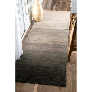 nuLOOM Handmade Contemporary Ombre Charcoal Runner Rug (2'6 x 8')