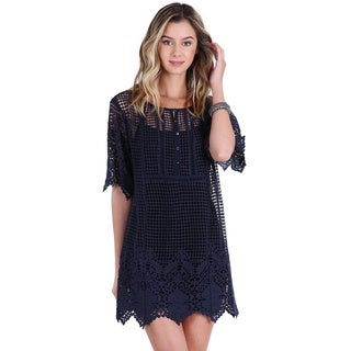 Nikibiki Women's Navy Polyester Lace Tunic Dress